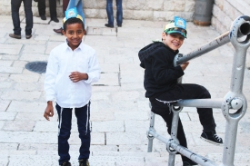 Little boys at the Western Wall.
