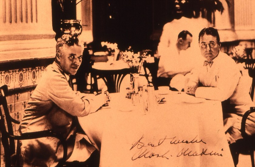 Charlie Chaplin and his brother, Syd at Raffles. Courtesy of Raffles.