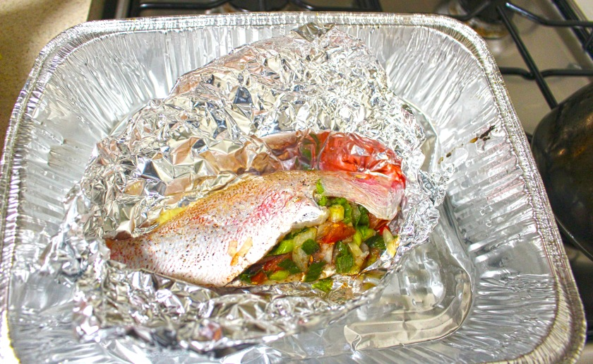 stuffed red snapper, pre-bake.