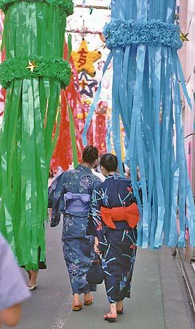 Women dressed in yukata at Tanabata festival. courtesy of Wikipedia.