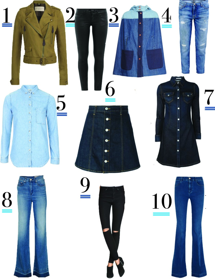 one. linen moto jacket, BURBERRY BRIT | two. coated jeans, THE KOOPLES | three. denim cape, SEE BY CHLOÉ | four. boyfriend jeans, CURRENT ELLIOTT | five. denim button down, TOPSHOP | six. denim button mini skirt, ALEXA CHUNG FOR AG JEANS | seven. denim dress, ALEXA CHUNG FOR AG JEANS | eight. wide-leg jeans, RAG & BONE | nine. skinny high-waisted jeans, H&M | ten. mid-rise flare jeans, STELLA MCCARTNEY