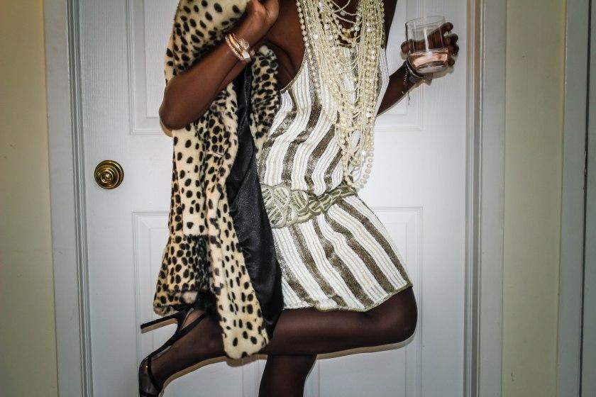 dress, kate moss x topshop. coat, topshop. shoes, manolo blahnik. pearls, vintage.