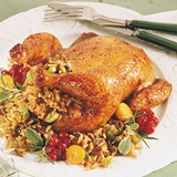 Cranberry Glazed Cornish with Wild Rice