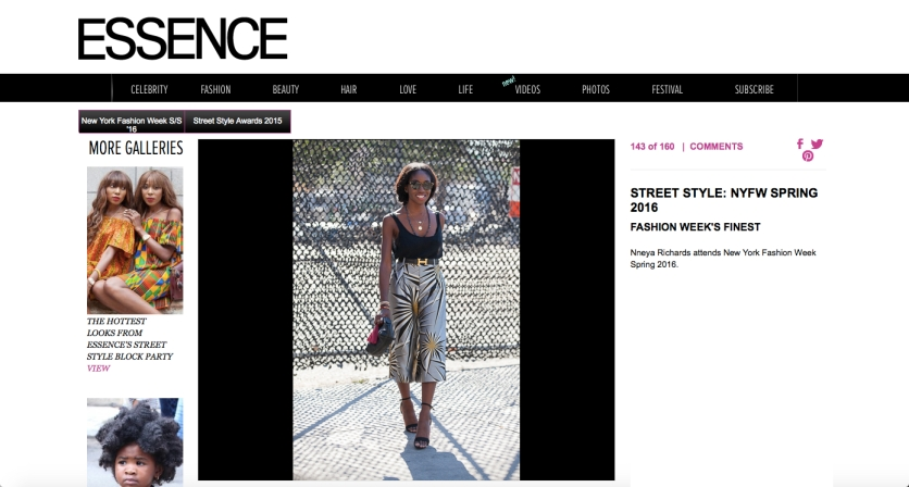 on Essence.com fashion week street style wearing Harbison pants