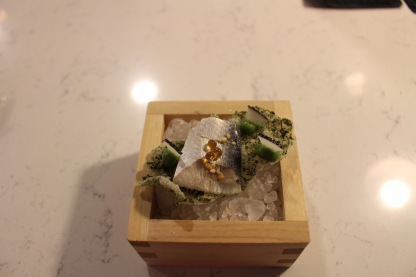 Fish with mirin and nori cracker and caviar