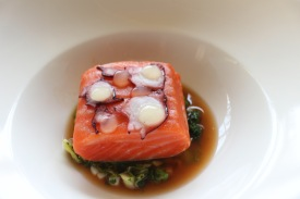 Poached ocean trout, spring greens, octopus broth