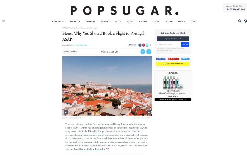 Popsugar.com - 8.25.16 - Why You Should Book a Flight to Portugal