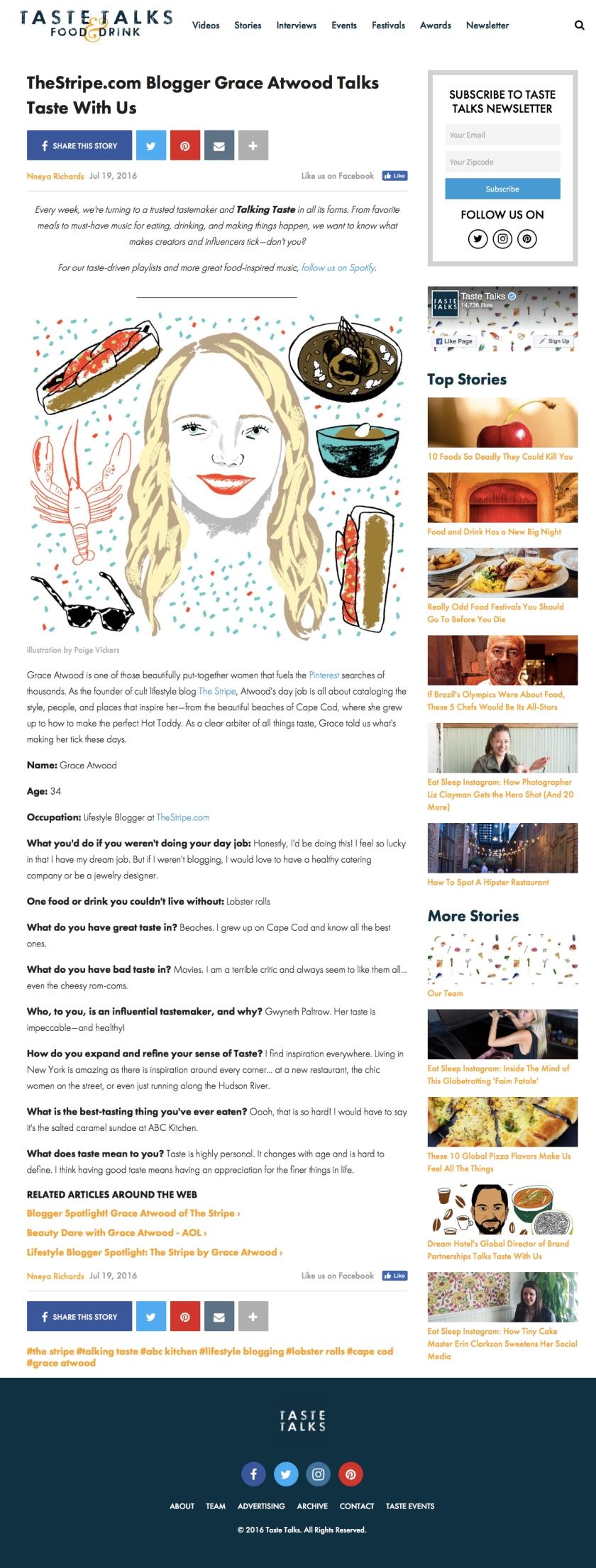 TasteTalks.com - 7.19.16 - Grace Atwood